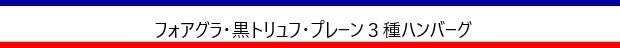 フォアグラ・黒トリュフ・プレーン3種ハンバーグ